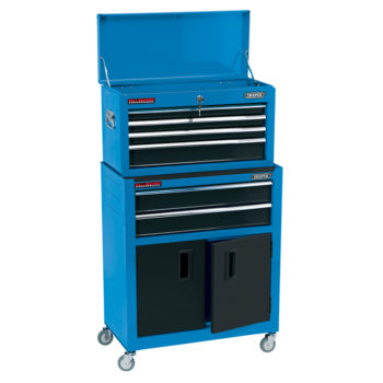 Draper Combined Roller Cabinet and Tool Chest, 6 Drawer, 24″, Blue